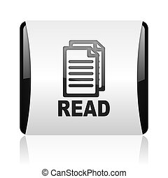 read black and white square web glossy icon