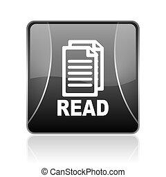 read black square web glossy icon