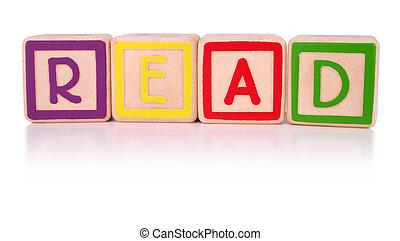 Read blocks - Children\'s colorful building blocks isolated,...