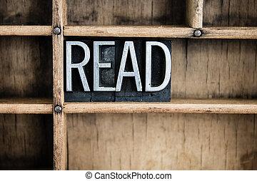 Read Concept Metal Letterpress Word in Drawer