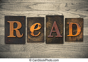 """Read Concept Wooden Letterpress Type - The word """"READ""""..."""