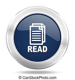 read icon, dark blue round metallic internet button, web and mobile app illustration
