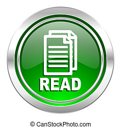 read icon, green button
