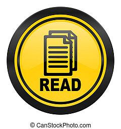 read icon, yellow logo