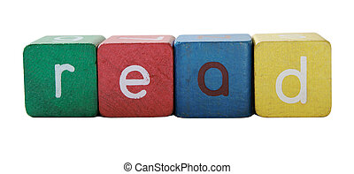 read in children's block letters