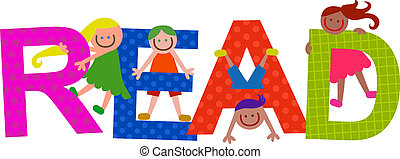 Read Kids Title Text - Happy cartoon smiling children...