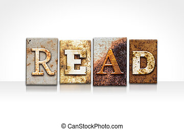 """Read Letterpress Concept Isolated on White - The word """"READ..."""