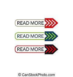 read more button set of colorful vector web element on white background