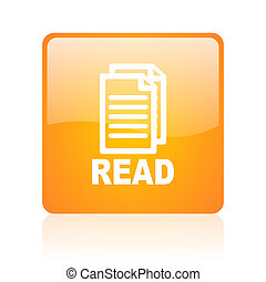 read orange square glossy web icon