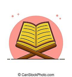 Read Quran Or Recite The Quran Concept. Muslim Stuff Vector ...