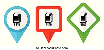 Read red, blue and green vector pointers icons. Set of colorful location markers isolated on white background easy to edit.