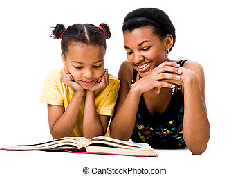 Read the book - Image of woman and girl reading the book...