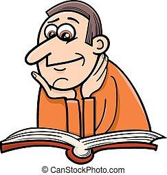 reader man cartoon illustration