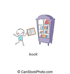 Reader of books. Illustration.