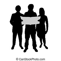 readers - Illustration of three people reading a book
