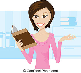 Reading a book - Illustration of girl is reading a...
