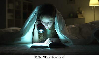 Reading Aloud - Dolly of girl resting in bed and reading...