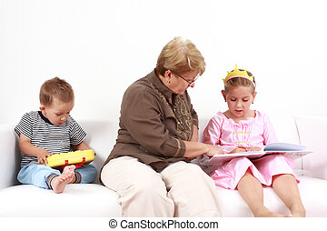 Reading and playing with granny