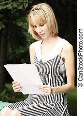 Reading blonde girl
