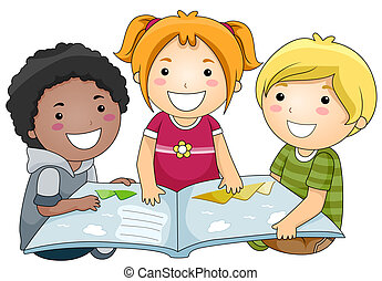 Reading Book - A Small Group of Kids Reading a Book