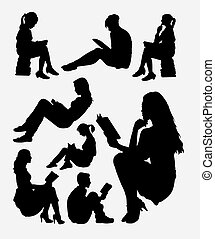 Reading book activity silhouette - Reading book male and...
