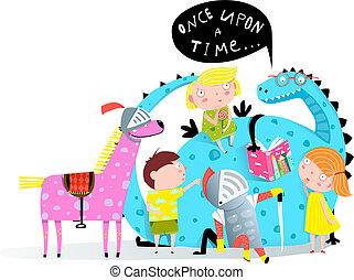 Reading Book Dragon to Kids