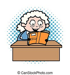 Reading Book - Old Woman Cartoon Granny Vector Illustration