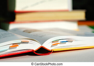 A reading book and labelled with bookmarks