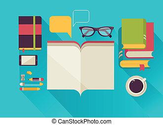Reading books desktop, set of flat icons
