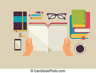 desktop with open book, book stock, coffee, set of flat vector icons