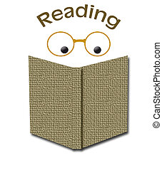 reading books - eyes reading an open book with glasses...