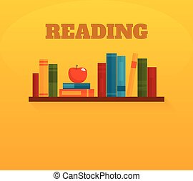 Reading books flat icon