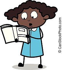 Reading Books - Retro Black Office Girl Cartoon Vector Illustration