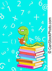 illustration of bookworm reading sitting on pile of book