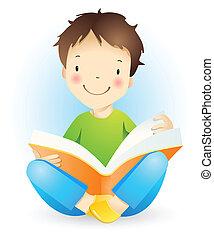 Little reading boy.