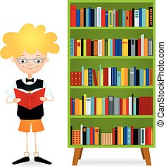 reading boy near bookcase