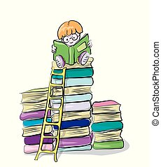 reading boy on books, vector clip-art, concept of knowledge and education for children