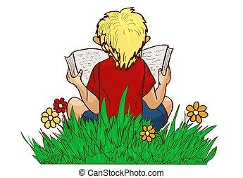 reading boy on grass