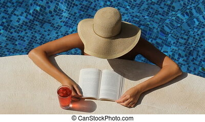 Reading by the pool. - Woman with wide brimmed hat reads by...