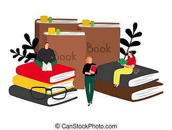 Reading concept with cartoon characters