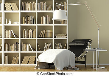 reading corner interior - Modern interior of a reading couch...