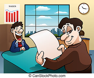 reading funny article - illustration of a reading funny...