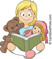 Reading Girl - Illustration of a Girl Reading a Story to Her...