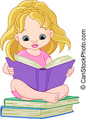 Reading girl - Illustration of a little girl reading a book