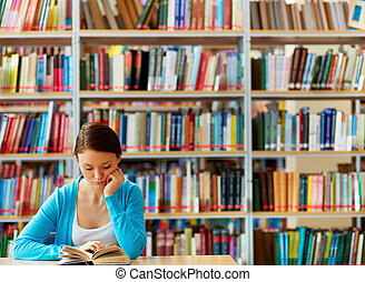 Reading girl - Portrait of clever student with open book...