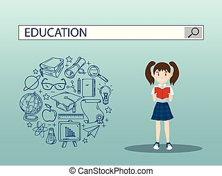 Reading girl with education search engine bar illustration design. vector