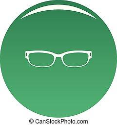 Reading glasses icon vector green