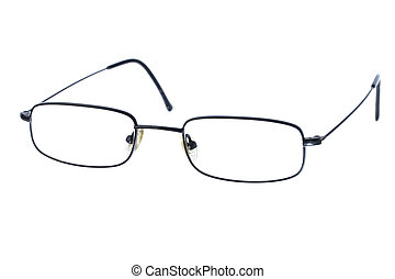Reading glasses - Macro closeup of reading glasses isolated ...
