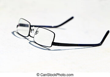 Reading glasses on the table