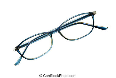 Reading Glasses - Reading glasses with blue frame; isolated...